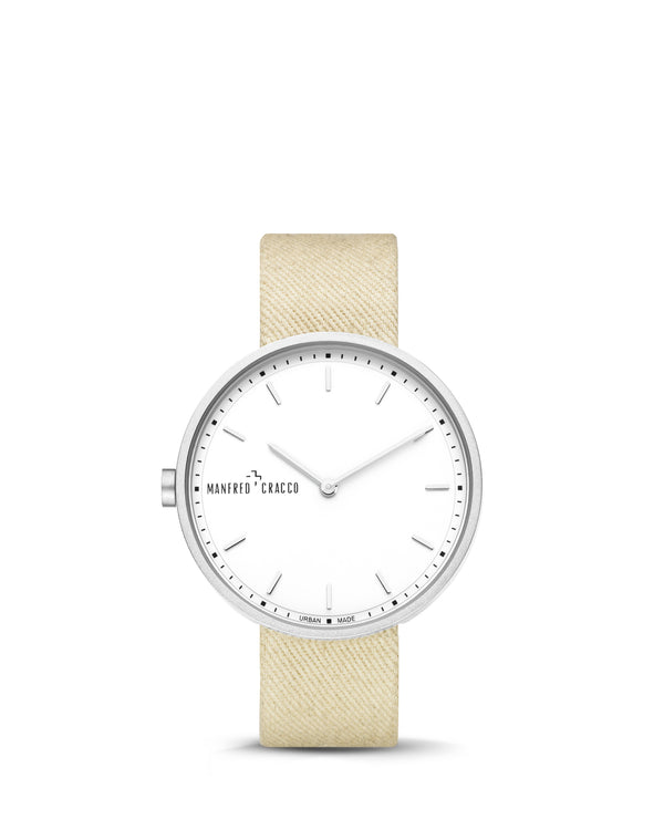 Manfred Cracco Dames Horloge Hanoi Denim Zilver Beige