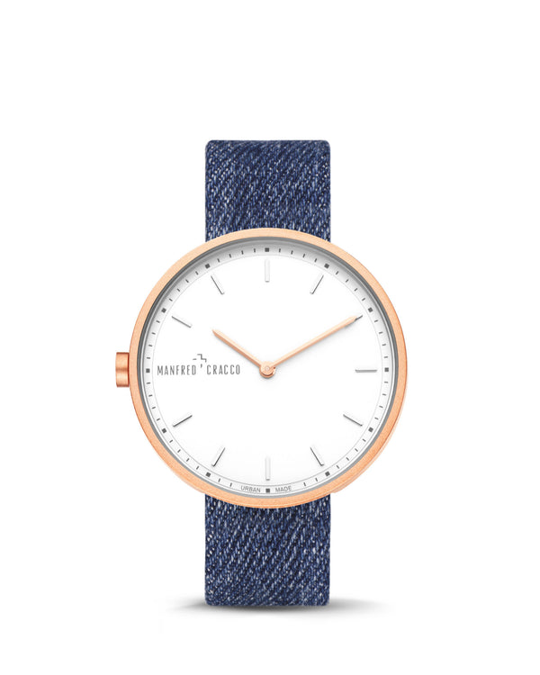 Manfred Cracco Horloge Nashville Rosé Goud Denim Heren