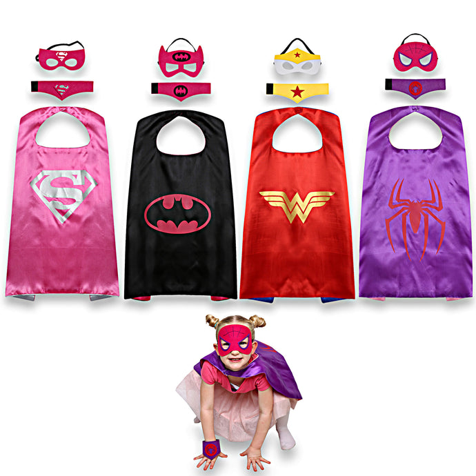 4 Superhero Capes for Girls – Includes Spidergirl, Batgirl, Supergirl and Wonder Woman