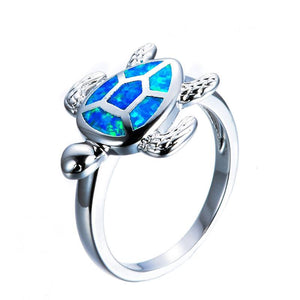 Blue Opal Turtle Ring