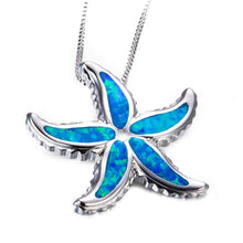 Mystic Blue Fire Opal Starfish Necklace