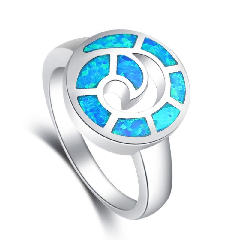 BlueFire Opal Shell Ring