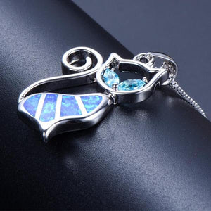 Blue Fire Opal Cat Necklace