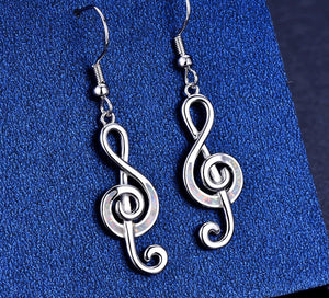 Music Note Long Drop Earrings