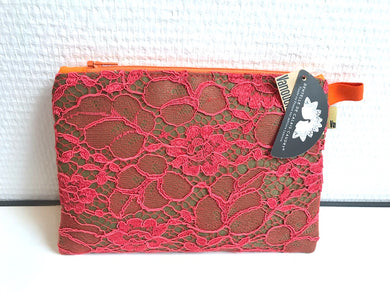 Trousse Dentelle ROUGE/KAKI Lace Clutch Bag