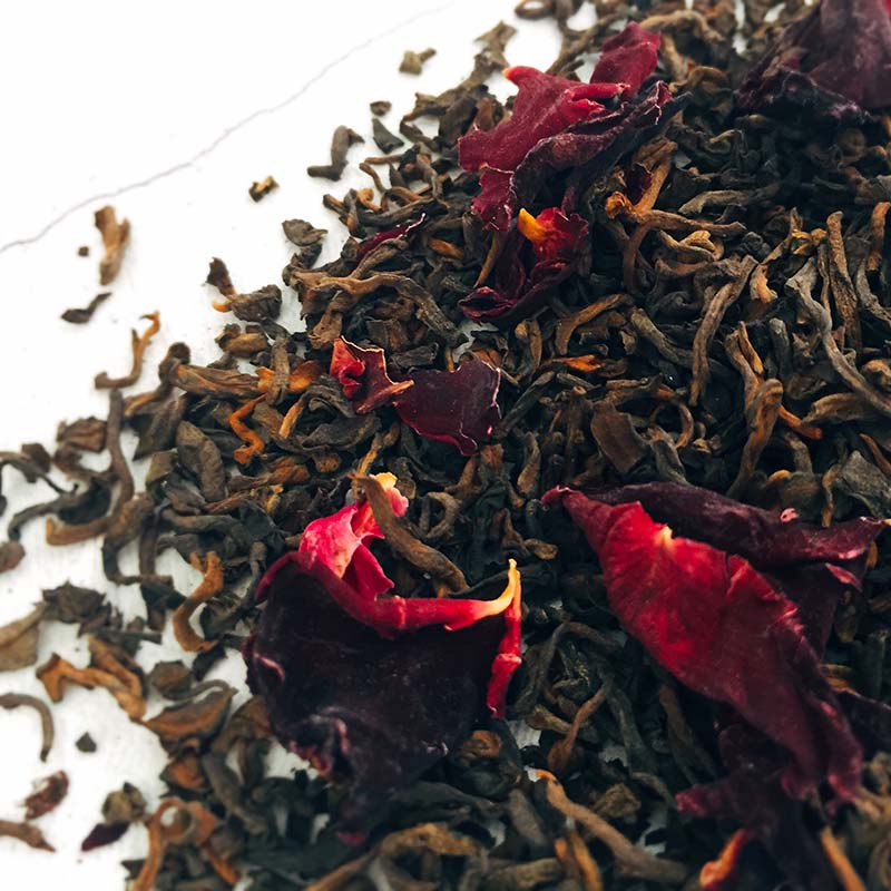 extraordinary rose aged pu erh chinese flower tea