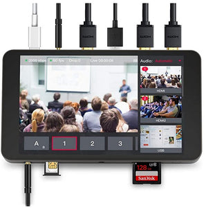 YoloLiv YoloBox Yololivbox Portable Live Stream Studio Broadcast Box with battery Wifi 4G Encoder 1080P HD video recording four in one 4-in-1 streaming gear on Facebook Youtube Twitch Capture card Switcher Studio DSLR Controller without OBS 直播 實況 直播專用 臉書直播 fb直播 直播設備 直播器 擷取盒 fb all ports input