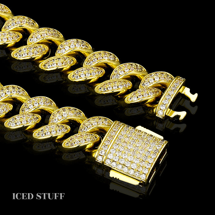 DIAMOND CUBAN LINK 12MM ZŁOTO