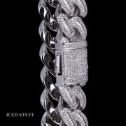 BAGUETTE DIAMOND CUBAN LINK 16MM BIALE ZŁOTO