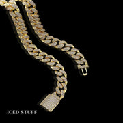 BOX CLASP DIAMOND CUBAN LINK 12MM ZŁOTO
