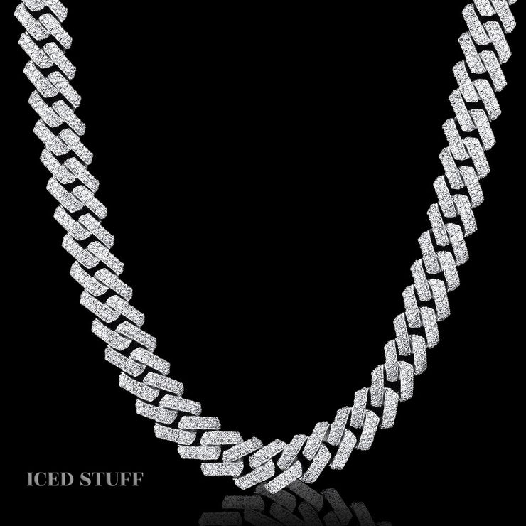 DIAMOND PRONG CUBAN LINK 15MM BIAŁE ZŁOTO