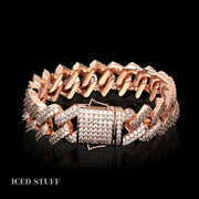 DIAMOND PRONG CUBAN LINK 15MM RÓŻOWE ZŁOTO