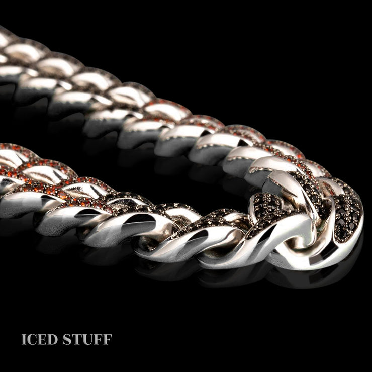 COLOR MIX DIAMOND CUBAN LINK 12MM