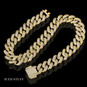DIAMOND CUBAN LINK 18MM ZŁOTO