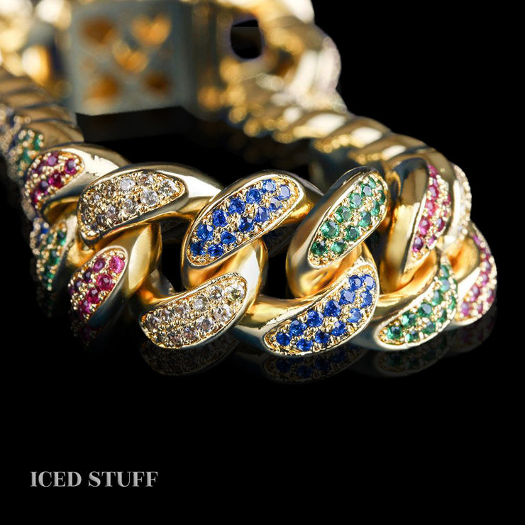 COLORFUL DIAMOND CUBAN LINK 12MM