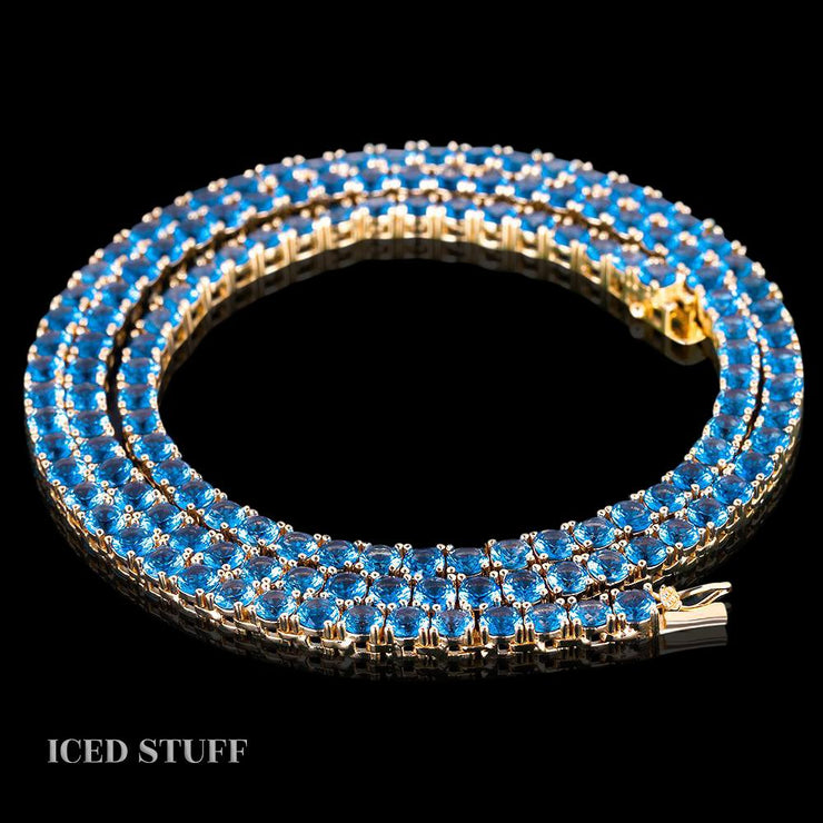 BLUE TENNIS CHAIN 4MM