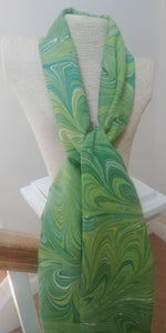Green Goddess Hand-Painted Silk Scarf
