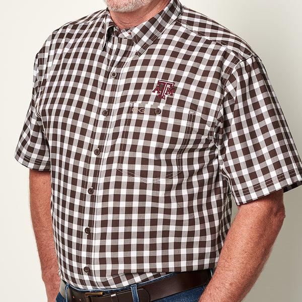 GameGuard Texas A&M University Chocolate Check Cotton Shirt