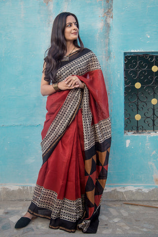 Madder Blockprint Chanderi Zari Border Saree