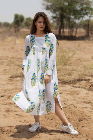 White Mughal Print Dress cum Kurta