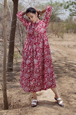 Red-Pink Blockprint Dress cum Kurta