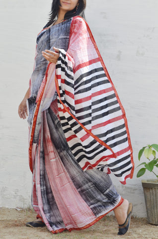 Hand Painted Cotton Zari-Border Saree