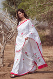 White Brush Painting Pink Flowers Sari