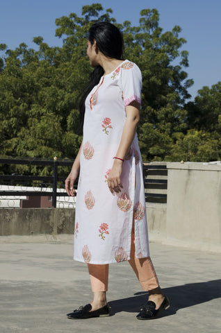 White Orange-Mughal Print Kurta