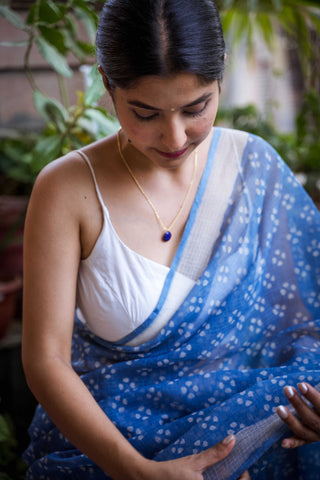 Pastel Blue Zari Border Cotton Saree