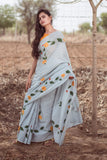 Grey Brush Painting Cotton Sari