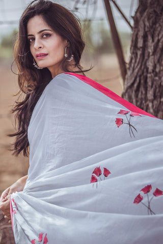 White Brush Painting Red Poppy Flowers Sari