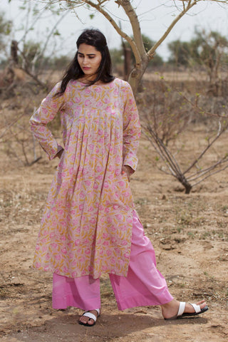 Pink Flowers Blockprint Kurta
