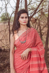 Peach Blockprint Cotton Saree