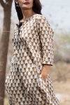 Beige Blockprint Cotton Kurta