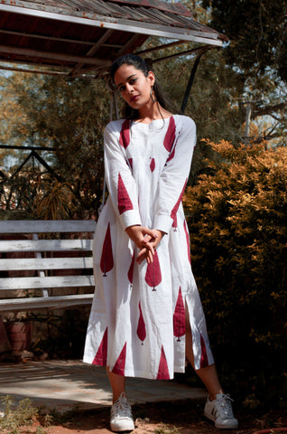 White Mughal Print Dress