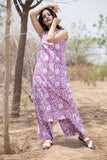 Purple Blockprint Cotton Kurta