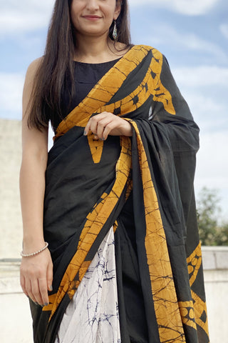 black yellow mud print sari