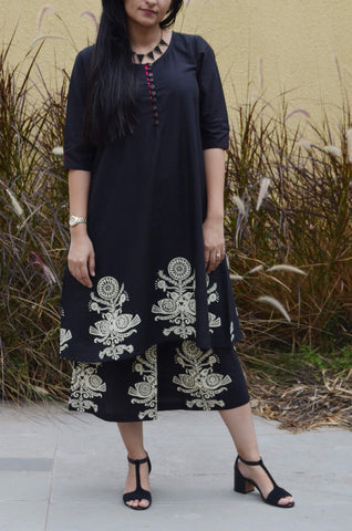 Black Blockprint Kurta-Cullotes Suit Set