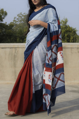 Indigo-Madder Blocked Cotton Saree