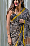Black Bagru Print Chanderi Saree