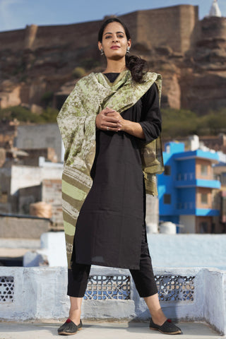 Green Blockprint Dupatta