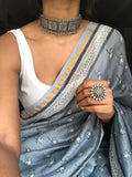 Grey Chanderi Zari Border Saree