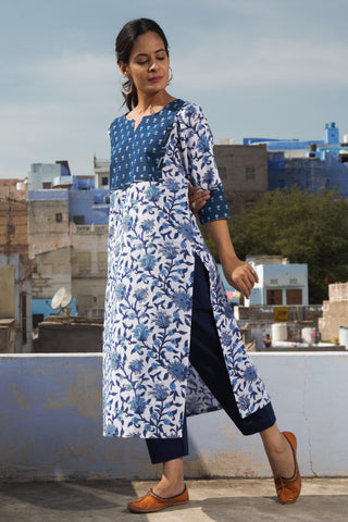 Indigo White Blockprint Kurta