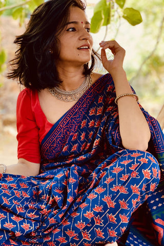 Indigo Red Cotton Saree