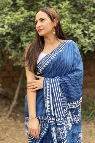 Indigo Block print Cotton Saree