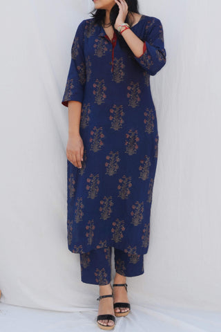 Indigo Mughal Handblock Print Kurta and Trouser Set