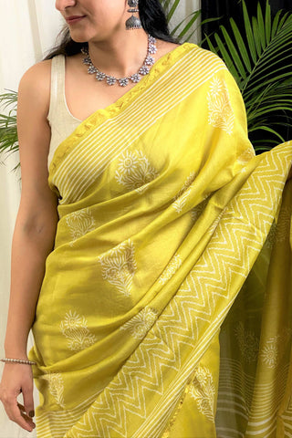 Light Mehndi Chanderi Saree