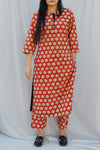 Red Floral Handblock Print Kurta and Trouser Set