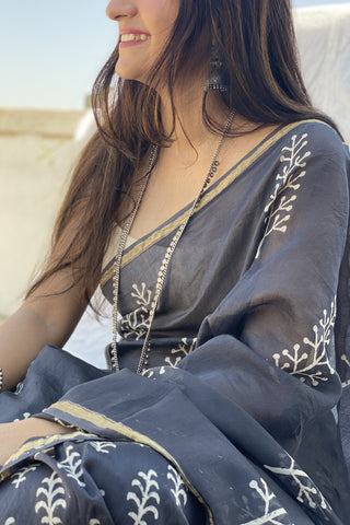 Pebble Grey Blockprint Chanderi Saree