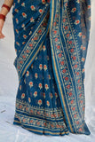 Blue Red Flower Chanderi Saree